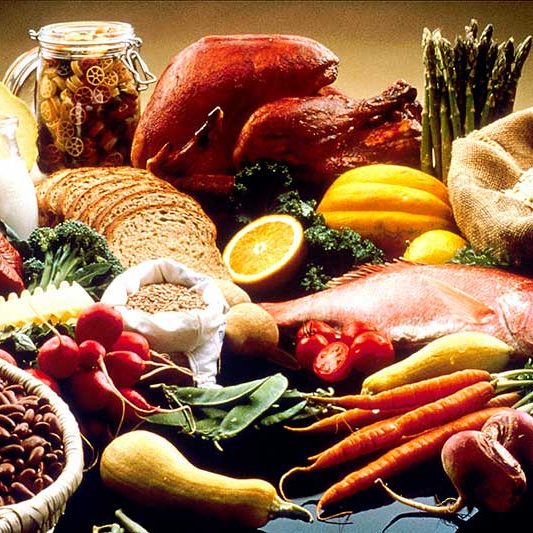 Picture of various healthy foods